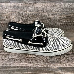 Sperry Zebra Top Sider Boat Shoes 9.5